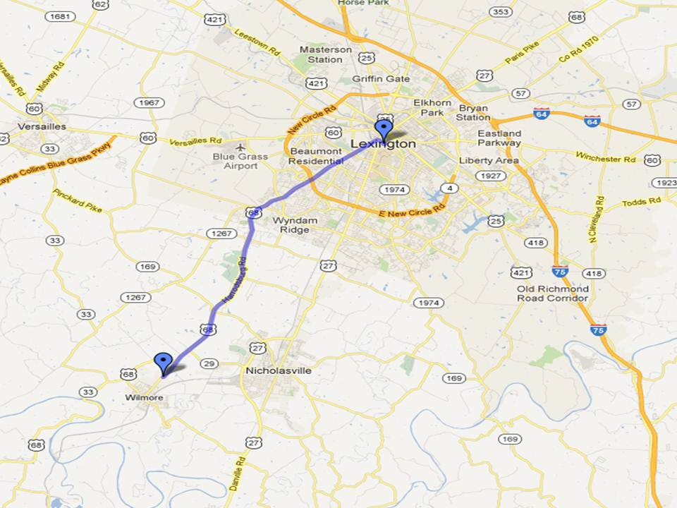 Map depicting route from Lexington, KY to Thomas-Hood Veterans' Center